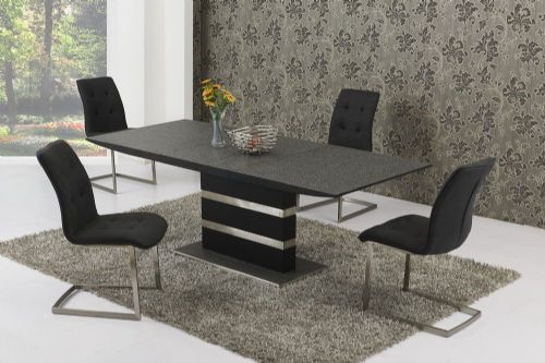 GA Maximo Black/Grey Stone Glass Small/Large Extending Table & Zaretti Chairs